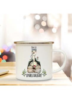 Emaille Becher Camping Tasse mit Schildkröte & Spruch Opa ist unbezahlbar Kaffeetasse Geschenk eb287