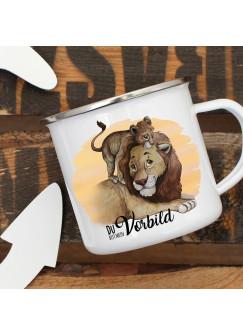 Emaille Becher Camping Tasse Löwe mit Junges & Spruch Du bist mein Vorbild Kaffeetasse Geschenk eb298