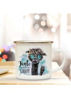 Emaille Becher Camping Tasse Lama Sonnenbrille & Spruch Tante wie Mutter nur cooler Kaffeetasse Geschenk eb299