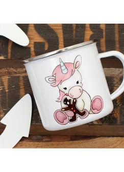 Emaille Tasse Becher Einhorn mit Lebkuchen Kaffeebecher Einhorntasse eb03
