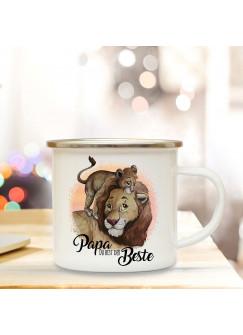 Emaille Becher Camping Tasse Löwe mit Junges & Spruch Papa Du bist der Beste Kaffeetasse Geschenk eb303