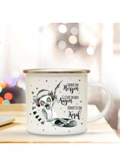 Emaille Becher Camping Tasse Lemur Affe Äffchen DJ & Spruch Konfetti im Kopf Kaffeetasse Geschenk Spruchecher eb304