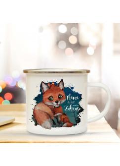 Emaille Becher Camping Tasse Fuchs Fuchsmama mit Junges & Spruch Mama mein Zuhause Kaffeetasse Geschenk Spruchbecher eb306