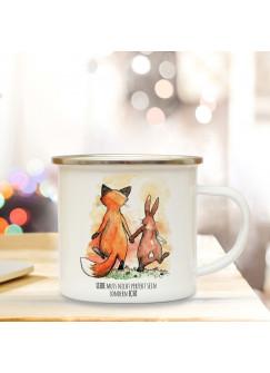Emaille Tasse mit Fuchs & Hase Kaffeebecher Camping Becher Paar Pärchen mit Motto Spruch Liebe muss nicht perfekt sein eb31