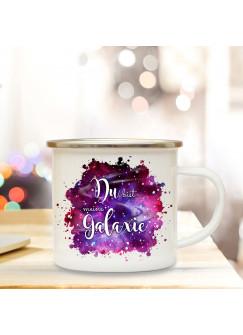 Emaille Becher Camping Tasse mit Spruch Du bist meine Galaxie Kaffeetasse Geschenk Spruchbecher eb310