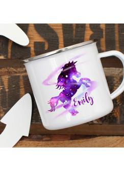 Emaille Becher Camping Tasse mit galaktisches Einhorn Galaxie & Wunschname Name Kaffeetasse Geschenk eb311