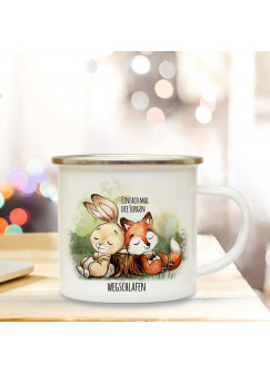 Emaille Becher Camping Tasse Hase & Fuchs Spruch Einfach Sorgen wegschlafen Kaffeetasse Geschenk Spruchbecher eb318