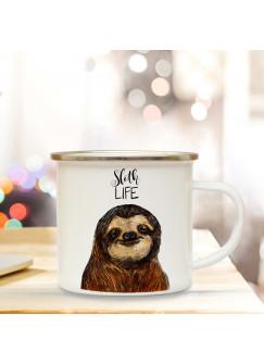 Emaille Tasse Becher mit Faultier Kaffeebecher Camping Becher mit Motto Spruch sloth life eb32