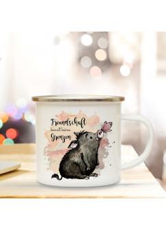 Emaille Becher Camping Tasse Schwein & Schmetterling Spruch Freundschaft Kaffeetasse Geschenk Spruchbecher eb320