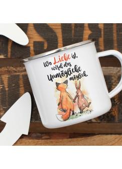 Emaille Becher Camping Tasse Fuchs & Hase Spruch Wo Liebe ist... Kaffeetasse Geschenk Spruchbecher eb322