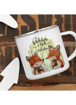 Emaille Becher Camping Tasse Fuchs Pärchen Spruch Neben Schokolade mag ich Dich... Kaffeetasse Geschenk Spruchbecher eb324