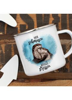 Emaille Becher Camping Tasse Otter Pärchen blau Spruch Mehr schmusen weniger stressen Kaffeetasse Geschenk Spruchbecher eb326