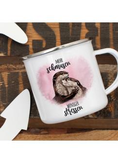 Emaille Becher Camping Tasse Otter Pärchen rosa Spruch Mehr schmusen weniger stressen Kaffeetasse Geschenk Spruchbecher eb327