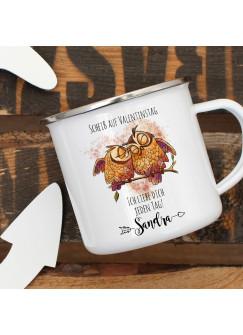 Emaille Becher Camping Tasse Eulen Pärchen Spruch Scheiß auf Valentinstag Kaffeetasse Geschenk Wunschname eb329