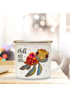 Emaille Tasse Becher mit Schildkröte Chillkrötchen Kaffeebecher Camping Becher Chillkröte eb33