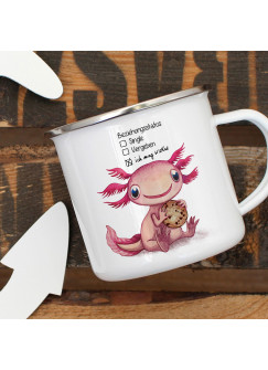 Emaille Becher Camping Tasse Motiv Axolotl Spruch Beziehungsstatus: ich mag Kekse Kaffeetasse Geschenk Spruchbecher eb333