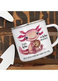 Emaille Becher Camping Tasse Motiv Axolotl Spruch Ich mag Kekse und Kekse mögen mich Kaffeetasse Geschenk Spruchbecher eb334