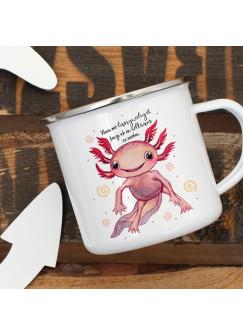 Emaille Becher Camping Tasse Motiv Axolotl Spruch Wenn mir langweilig ist,... Kaffeetasse Geschenk Spruchbecher eb335