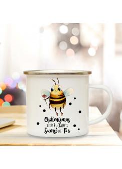 Emaille Becher Camping Tasse Motiv Biene Sumsi Spruch Optimismus rückwärts... Kaffeetasse Geschenk Spruchbecher eb340