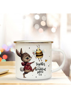 Emaille Becher Camping Tasse Motiv Hase & Biene Spruch Together is a beautiful place to be Kaffeetasse Geschenk Spruchbecher eb342