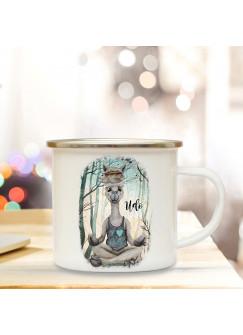 Emaille Becher Camping Tasse Motiv Lama Yoga im Wald & Wunschname Name Kaffeetasse Geschenk eb347