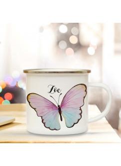 Emaille Becher Camping Tasse Motiv bunter Schmetterling & Wunschname Name Kaffeetasse Geschenk eb348
