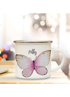 Emaille Becher Camping Tasse Motiv schöner Schmetterling & Wunschname Name Kaffeetasse Geschenk eb349