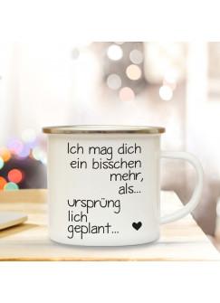 Emaille Tasse Becher mit Spruch Kaffeebecher Spruchbecher Camping Becher mit Motto Zitat Ich mag dich... eb35