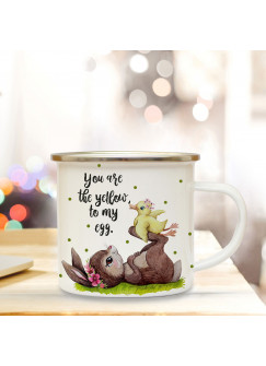 Emaille Becher Camping Tasse Motiv Hase & Ente Spruch You are the yellow of my egg Kaffeetasse Geschenk Spruchbecher eb350