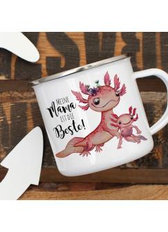 Emaille Becher Camping Tasse Motiv Axolotl mit Kinder Spruch Mama ist die Beste Kaffeetasse Geschenk Spruchbecher eb357