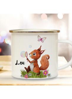 Emaille Becher Camping Tasse Motiv Eichhörnchen Seifenblase mit Schmetterling & Wunschname Name Kaffeetasse Geschenk eb360