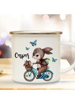 Emaille Becher Tasse Kaffeebecher Hase auf Fahrrad & Wunschname Geschenk eb361