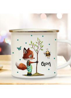 Emaille Becher Camping Tasse Motiv Fuchs pflanzt Baum mit Biene & Wunschname Name Kaffeetasse Geschenk eb362