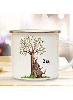 Emaille Becher Camping Tasse Motiv Hase Häschen unterm Blütenbaum Baum & Wunschname Name Kaffeetasse Geschenk eb363
