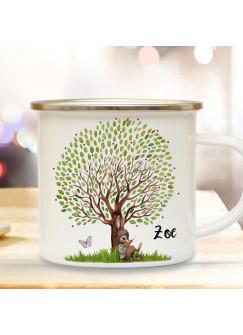 Emaille Becher Camping Tasse Motiv Hase Häschen unterm großen Baum & Wunschname Name Kaffeetasse Geschenk eb364