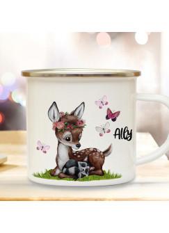 Emaille Becher Camping Tasse Motiv Reh Waschenbär mit Schmetterlinge & Wunschname Name Kaffeetasse Geschenk eb365