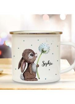 Emaille Becher Camping Tasse Motiv Hase Häschen mit Pusteblume & Wunschname Name Kaffeetasse Geschenk eb366
