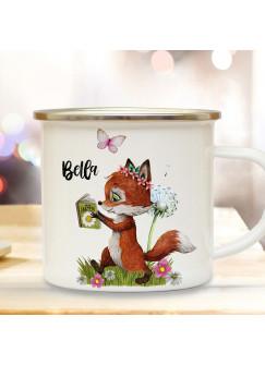 Emaille Becher Camping Tasse Motiv Fuchs Füchschen mit Buch & Wunschname Name Kaffeetasse Geschenk eb367
