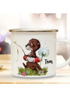 Emaille Becher Camping Tasse Motiv Otter angelt mit Schwimmring Pusteblume & Wunschname Name Kaffeetasse Geschenk eb368