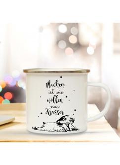 Emaille Tasse Becher mit Faultier & Spruch Kaffeebecher Camping Becher mit Motto Machen ist wie wollen... eb37