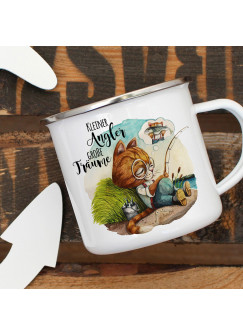 Emaille Becher Camping Tasse Kater Katze Kätzchen Angelkater Angel Spruch Kleiner Angler Kaffeetasse Geschenk Spruchbecher eb374