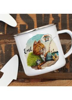Emaillebecher Becher Tasse Camping Kater Katze Kätzchen Angelkater Angel & Wunschname Name Kaffeetasse Geschenk eb376