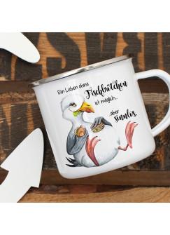 Emaille Becher Camping Tasse Möwe Vogel Spruch Ein Leben ohne Fischbrötchen Kaffeetasse Geschenk Spruchbecher eb382