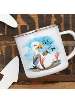 Emaille Becher Camping Tasse Möwe Vogel Spruch Fischbrötchen gut, alles gut Kaffeetasse Geschenk Spruchbecher eb384