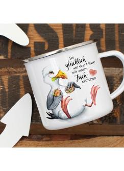 Emaille Becher Camping Tasse Möwe Vogel Spruch Sei glücklich wie eine Möwe Kaffeetasse Geschenk Spruchbecher eb385