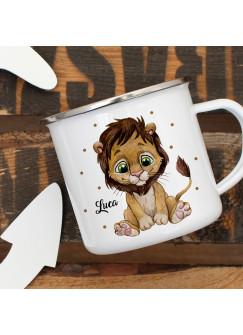 Emaillebecher Becher Tasse Camping Löwe Löwen Junge & Wunschname Name Kaffeetasse Geschenk eb389
