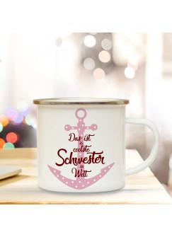 Emaille Tasse Becher mit Anker & Spruch Coolste Schwester der Welt Kaffeebecher Camping Becher mit Zitat Motto eb39