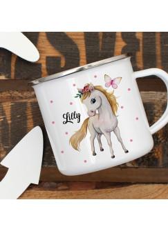 Emaillebecher Becher Tasse Camping Pferd Pferdchen Schmetterling & Wunschname Name Kaffeetasse Geschenk eb390