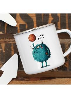 Emaillebecher Becher Tasse Camping Monster Basketball & Wunschname Name Kaffeetasse Geschenk eb392
