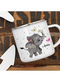 Emaillebecher Becher Tasse Camping Elefant Schmetterlinge & Wunschname Name Kaffeetasse Geschenk eb395